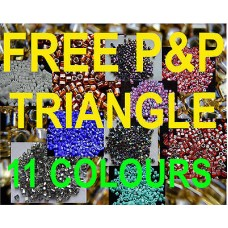 Size 8/o 3mm Glass TRIANGLE TOHO beads